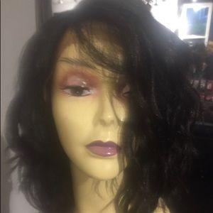 Short black curly bob SidePart Lacefront wig
